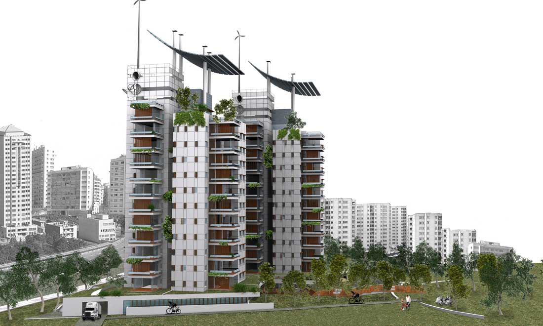 The Project Incorporates Various Architectural Solutions For Green Ideas Flexible Balconies Shading Devices Solar Collector Railings Chimney Ventilation